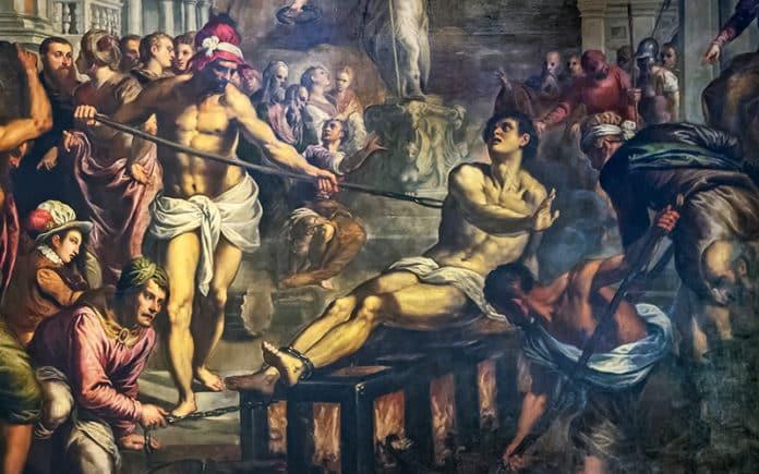 Das Martyrium vom heiligen Laurenz   Bild: Palma il Giovane, Public domain, via Wikimedia Commons