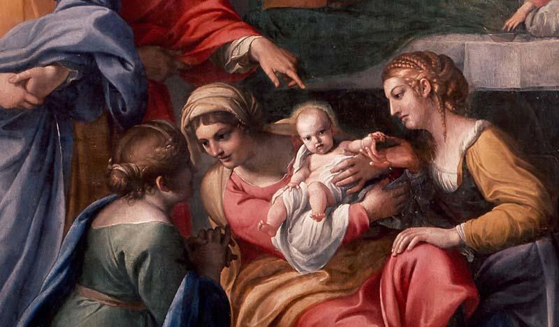 Geburt der Jungfrau von Annibale Carracci (Louvre)   Annibale Carracci, Public domain, via Wikimedia Commons